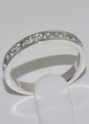 Cubic Zirconia 3mm Eternity Band Ring Sterling Silver