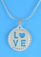 "LOVE Pendant with 16"" Chain .925 Sterling Silver"