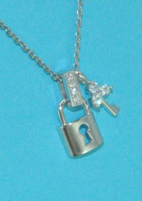 Padlock & Key CZs Pendant Necklace Sterling Silver