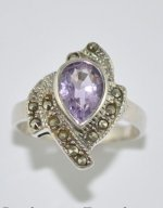 Amethyst and Marquesite Ring .925 Sterling Silver