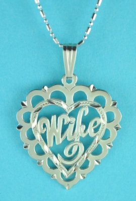 "Sterling Silver ""WIFE"" Heart Pendant with 16"" Chain"