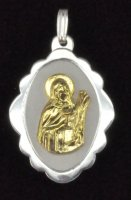 Sterling Silver and 14K Gold Saint Lucy Shell Oval Medal Pendant