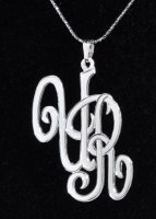 Two Initials Monogram Pendant and Chain .925 Sterling Silver