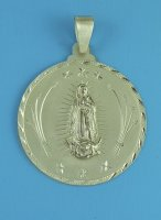 Our Lady of Guadalupe Medal Extra Large Round Sterling Silver
