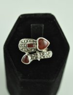 Carnelian stones and Marcasite Sterling Silver Ring