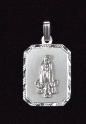 ".925 Sterling Silver""Our Lady of Fatima"" Religious Medal Pendant"
