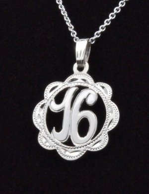Sterling Silver Sweet 16 Charm Pendant with Chain