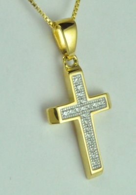 Gold over Sterling Silver CZ stones Cross Pendant/Necklace