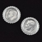 US 1969 Roosevelt Dime Coin Cufflinks Sterling Silver