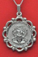 Christ Jesus Face Medal and Chain .925 Sterling Silver