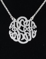 "Sterling Silver Personalized Monogram Three Initials 16""Chain"