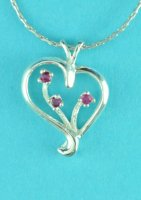 "Heart Pendant with Natural Ruby Sterling Silver with 16"" Chain"