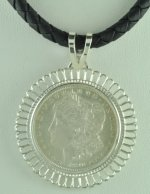 "1890 Morgan Silver Dollar Coin Pendant and 16"" Cord Necklace"
