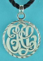 Elegant Interlaced 3 Initial Monogram Pendant w/ Cord Necklace