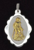 Sterling Silver and 14K Gold San Lazaro Shell Oval Medal Pendant