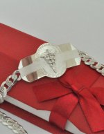 ".925 Sterling Silver 9"" Medical Alert ID Bracelet"