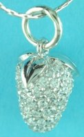 3D Strawberry Cubic Zirconia Pendant/Chain .925 Sterling Silver