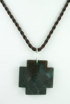 Silk Cord Necklace with Square Cross
