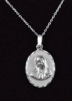 ".925 Sterling Silver ""The Virgin Mary"" Oval Medal and Chain"