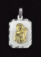 "Sterling Silver and 14K Gold ""Santa Lucia"" Rectangle Medal"