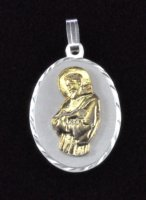 "Sterling Silver and 14K Gold ""St. Father Pio"" Oval Medal"