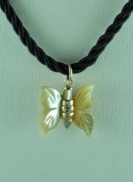 Mother of Pearl and 10K Yellow Gold Butterfly Pendant