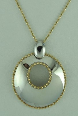 "18K Gold over Sterling Silver Pendant with 18"" Chain"