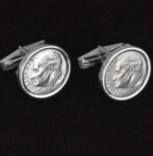 US 1999 Roosevelt Dime Coin Cufflinks Sterling Silver