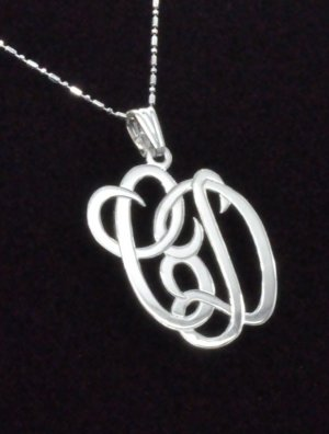 Two Initials Monogram Pendant with Chain Sterling Silver