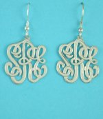 Sterling Silver Three Script Letters Monogram 25mm Earrings