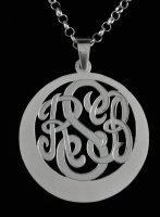 Sterling Silver Personalized 3 Letters Monogram Pendant w/Chain