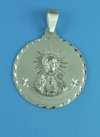 Sterling Silver Large Round Sacred Heart of Jesus Medal