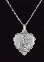 ".925 Sterling Silver ""St. Gerard"" Heart Shaped Medal and Chain"