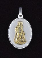 "Sterling Silver and 14K Gold ""San Lazaro"" Oval Medal Pendant"