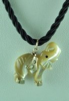 Mother of Pearl and 10K Yellow Gold Elephant Pendant