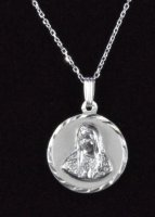 ".925 Sterling Silver ""The Virgin Mary"" Round Medal and Chain"