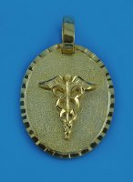 "14K Yellow Gold ""Oval Medical Alert Pendant"""