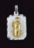 "Sterling Silver and 14K Gold ""Saint Martha"" Rectangle Medal"