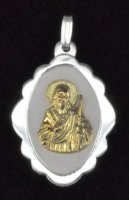 Sterling Silver and 14K Gold San Judas Tadeo Shell Oval Medal