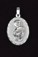 ".925 Sterling Silver ""St. Father Pio"" Oval Medal Pendant"