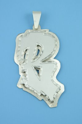 3D Double Plate Graffiti Letter Solid Sterling Silver.925