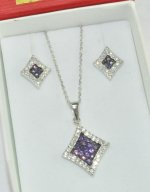 Purple and White colors CZ stones Sterling Silver Jewelry Set