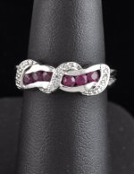 0.56CTW Ruby and White Topaz Ring Sterling Silver