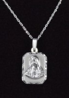 ".925 Sterling Silver ""La Virgen Maria"" Rectangle Medal and Chain"
