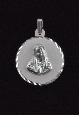 .925 Sterling Silver Mother Virgin Mary Medal Pendant