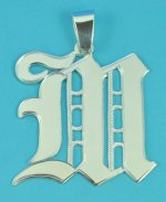 Steling Silver Old English Letter Pendant Avalilable A to Z