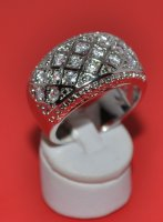 Cubic Zirconia Stones Pave Set Band Ring .925 Sterling Silver