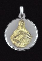 Sterling Silver and 14K Gold Sacred Heart of Jesus Medal Pendant
