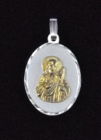 "Sterling Silver and 14K Gold ""San Judas Tadeo"" Oval Medal"