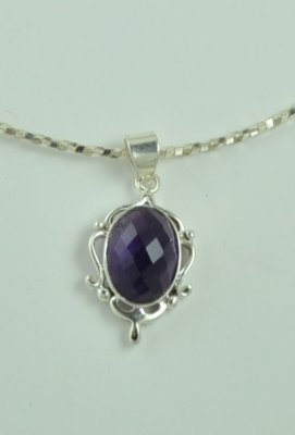 Natural Amethyst Pendant Necklace Sterling Silver.925